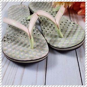 ADIDAS Green & Pink Eezay Dots Flip Flops 8